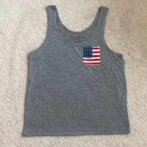 Light Grey American Flag Pocket Tank